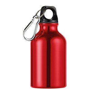 Kovová láhev na pití s karabinou, červená
