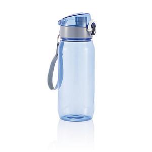 Láhev na vodu s poutkem, objem 600 ml, transparentní modrá