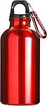 Kovová láhev na pití, 0,4 l, s karabinou, červená