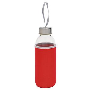 KASKADA Skleněná láhev na pití s neoprenovým obalem, 450ml, červená
