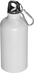 Kovová láhev na pití s krabinou na víčku, objem 500ml, bílá