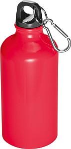 Kovová láhev na pití s krabinou na víčku, objem 500ml, červená