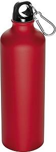 Kovová láhev na pití s krabinou na víčku, objem 800ml, červená