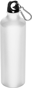 SENEDA Kovová láhev na pití s krabinou na víčku, objem 800ml, bílá