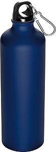 SENEDA Kovová láhev na pití s krabinou na víčku, objem 800ml, modrá