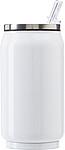 Nerezová plechovka na pití s brčkem, objem 330ml, bílá
