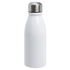 Hliníková láhev na vodu se stříbrným uzávěrem, objem 500 ml, bílá