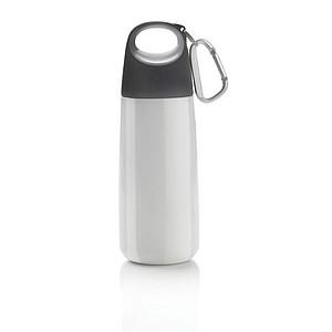Láhev na pití s karabinou, objem 350 ml, bílá, černá