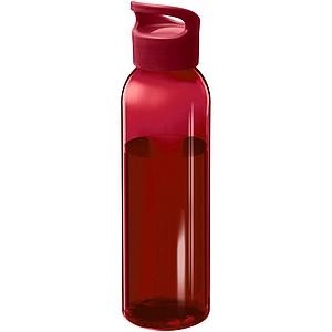 Plastová láhev s netradičním šroubovacím víčkem, červená