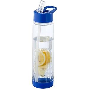 Láhev se šroubovacím víčkem a flipem pro pití, objem 740 ml, transparentní/královská modrá