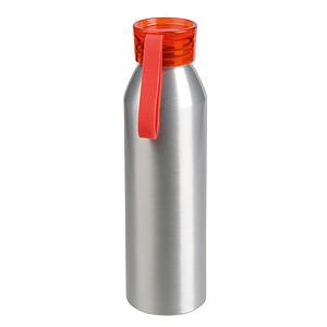 Hliníková láhev na vodu s barevným vrškem, objem 650 ml, červená