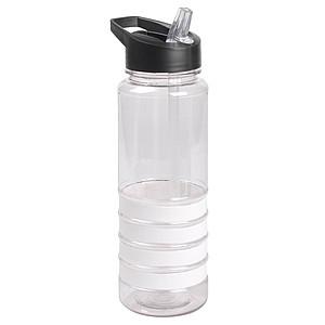 Sportovní transparentní láhev na vodu s barevnými proužky, objem 750 ml, bílá