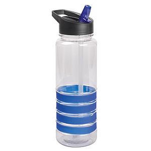 Sportovní transparentní láhev na vodu s barevnými proužky, objem 750 ml, světle královská modrá