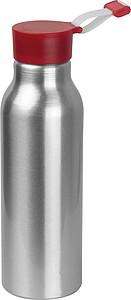 Odolná hliníková láhev na pití, objem 600ml, víčko červené