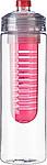LEDOR Transparentní láhev na pití 650ml, s červeným sítkem na ovoce