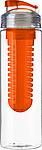 LEDOR Transparentní láhev na pití 650 ml, s oranžovýmsítkem na ovoce