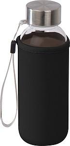 Průhledná plastová láhev, objem 300ml, s černým neoprenovým obalem