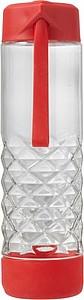Skleněná láhev na pití, 590ml, se silikonovým dnem a červeným víčkem