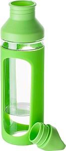 SAMIR Skleněná láhev na pití 590 ml, se silikonovým obalem, zelená