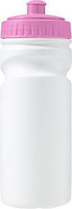 HARUN Plastová láhev na pití, 500ml, bílé tělo, růžové víčko