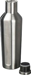 Lesklá nerezová láhev na vodu, objem 500 ml, tmavě šedá