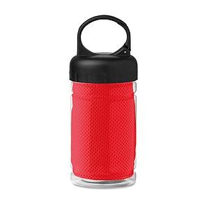 Láhev se sportovním ručníkem z mikrovlákna, červená