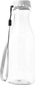 Transparentní plastová láhev na vodu, objem 530 ml, bílé víčko
