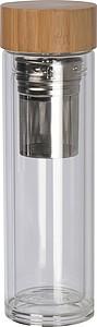 Dvoustěnná skleněná láhev se sítkem, 420ml, transparentní
