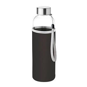 PILVI Skleněná láhev v neoprenovém pouzdře, černá