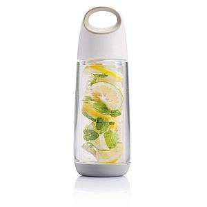 Designová láhev na vodu s difuzérem na ovoce, 650ml, bílá