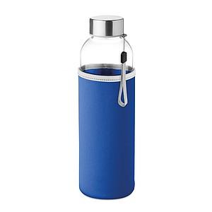 PILVI Skleněná láhev v neoprenovém pouzdře, modrá