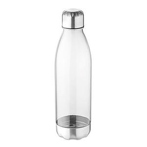Láhev na pití z tritanu s nerezovým pítkem a spodní částí, objem 600 ml, transparentní