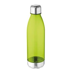 Láhev na pití z tritanu s nerezovým pítkem a spodní částí, objem 600 ml, transparentní limetková
