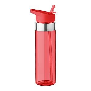 Tritanová láhev na pití, 650ml, se silikonovým kroužkem, červená