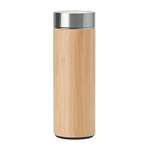 Dvoustěnná nerezová láhev s bambusovým povrchem, 400 ml, přídavný čajový infuzer