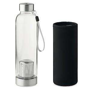 Jednostěnná skleněná láhev s infusérem na čaj a neoprenovým obalem, objem 500 ml