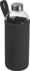 Skleněná láhev v neoprénovém pouzdře 1l,černá