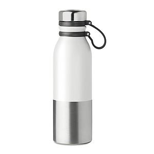 Dvoustěnná nerezová láhev se silikonovým potahem pro snadné nošení, 600 ml, stříbrno bílá