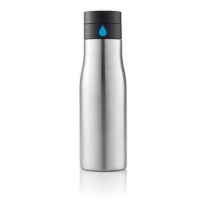 Láhev s pomůckou dodržování pitného režimu, stříbrná