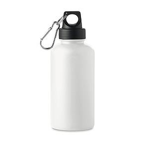 Plastová láhev na pití, 500ml, na víčku je karabinka, bílá