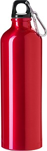 Jednostěnná láhev na vodu s karabinou, objem 750ml, červená