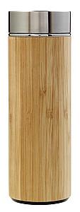 Dvojitá bambusová termoska. Objem 420ml. Středně hnědá,
