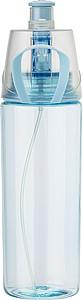 Transparentní láhev na pití s funkcí stříkání vody (Objem 600ml). Světle modrá.