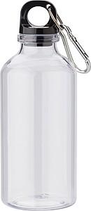 Průhledná láhev na vodu z RPET plastu, objem 400ml, transparentní