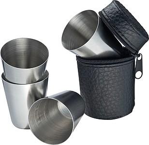 BREDY Čtyři kovové kalíšky v praktickém pouzdře