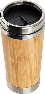 Nerezový termohrnek s bambusovým povrchem, objem 400ml