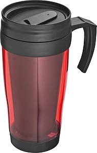 SAGRAT Plastový termohrnek, 0,4 l, červená