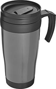 SAGRAT Plastový termohrnek, 0,4 l, stříbrná