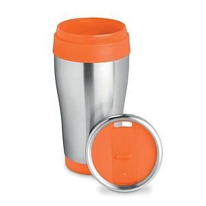 Nerezový termohrnek, objem 455 ml, oranžový