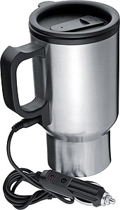 Kovový termohrnek s přípojkou na 12V, stříbrná